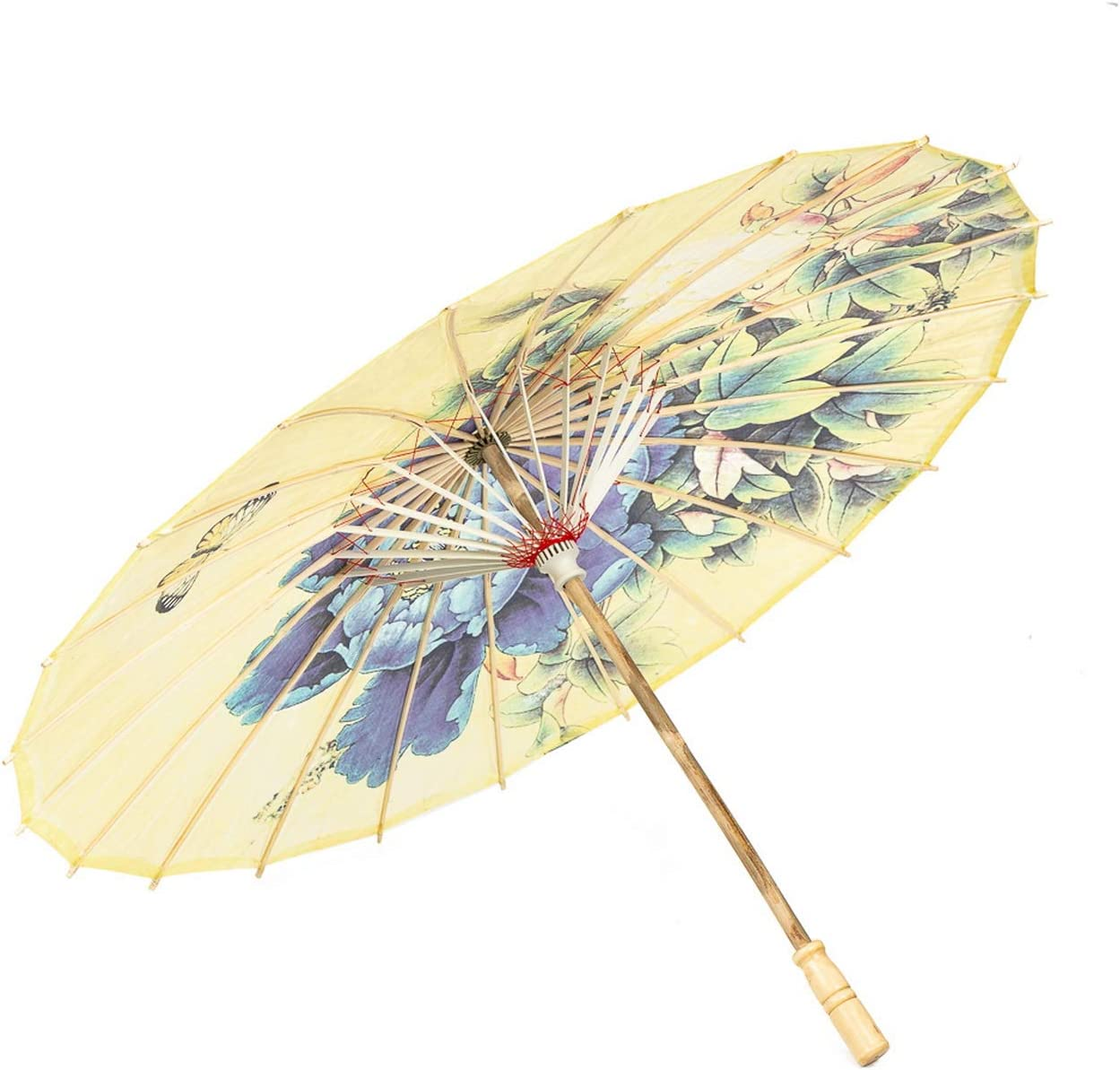 """ASIAN HOME Rainproof Handmade Chinese Oiled Paper Umbrella Parasol 33"""" Peony and Butterfly, Yellow"""