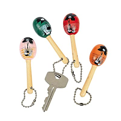 Fun Express - Mini Wooden Maraca Key Chains for Cinco de Mayo - Apparel Accessories - Key Chains - Novelty Key Chains - Cinco de Mayo - 12 Pieces: Toys & Games