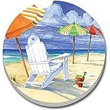 Counterart Absorbent Stone Car Coaster- Beach Umbrellas -Set of 2