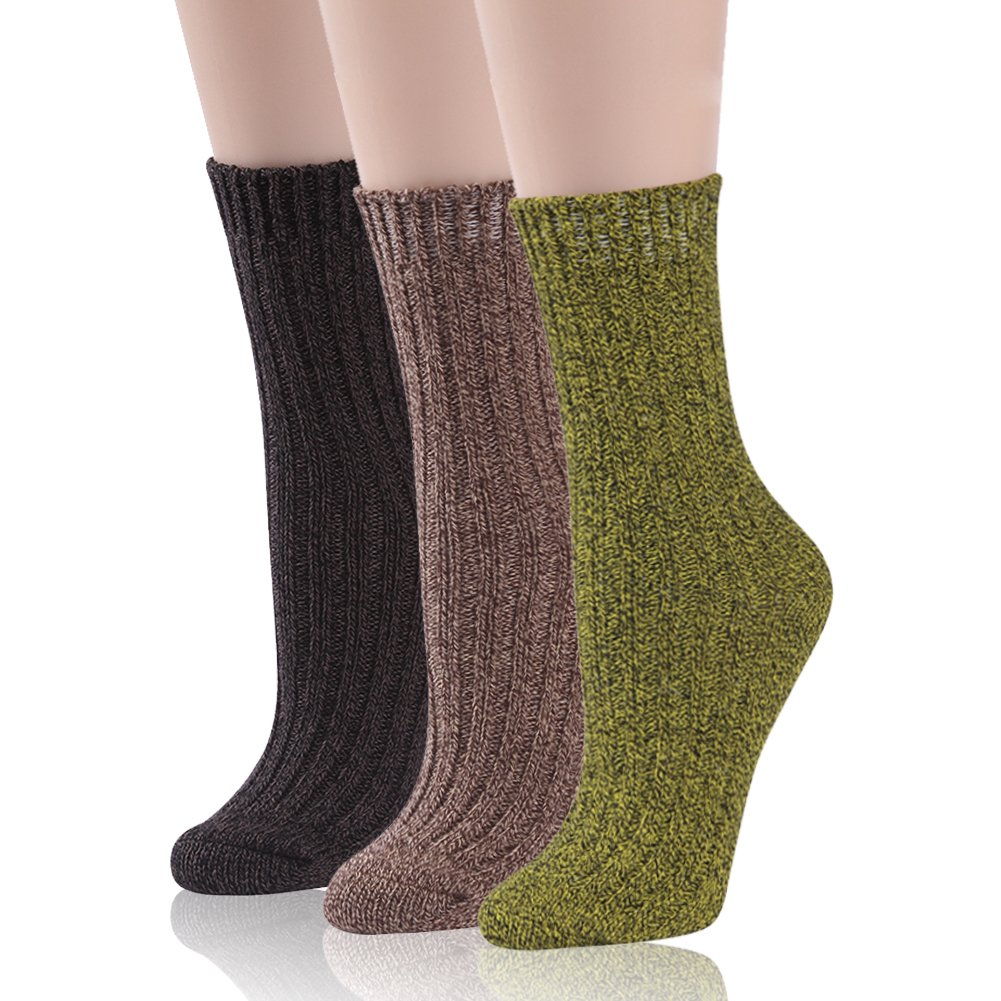 Cotton Boot Socks Women, RTZAT Girls Winter Soft Warm Colorful Funky Vintage Style Combed Cotton Boot Socks 3 Pairs Dark Brown, Light Brown, Yellow