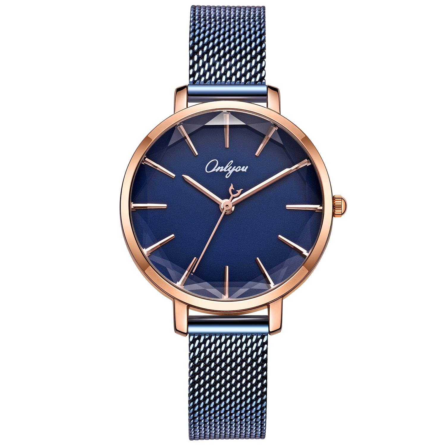 ONLYOU Women's Fashion Watches,Unique Face Design and 30M Waterproof,Analog Quartz Wristwatches with Stainless Steel Mesh Band (Blue) by onlyou (Image #1)