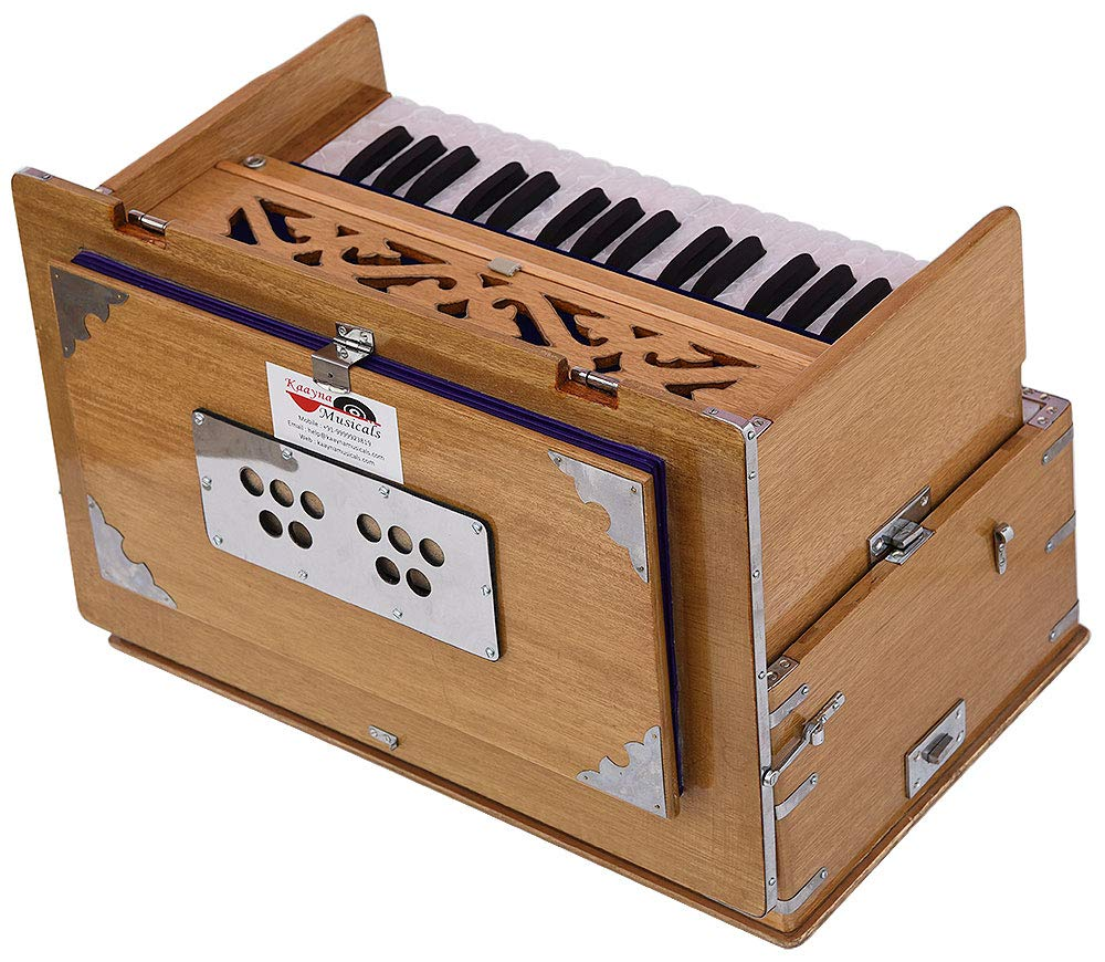 Safri Harmonium- 2¾ Octave By Kaayna Musicals-Portable, Traveler, Baja, 4 Stops (2 Drone), Two Set Reed- Bass/Male, Teak Color, Gig Bag, Tuning: 440 Hz, Suitable for Yoga, Bhajan, Kirtan, Mantra, etc by Kaayna Musicals (Image #5)