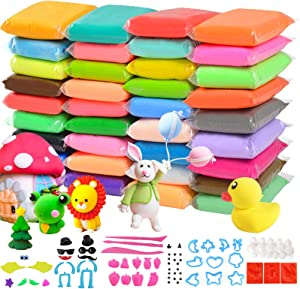 Meaeuro 36 Colors Air Dry Clay DIY Creative Modeling Clay Super Light with Accessories, Tools and Tutorials for Kids DIY Crafts