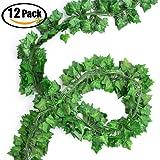Pianta Artificiale Ghirlanda, 12 Pezzi 84 Ft Edera Rampicante foglie verdi Fiori Esterne per Festa di Matrimonio e la Decorazione della Parete di Giardino (Ivy)