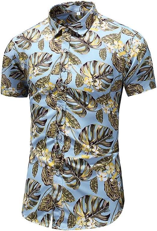 WODENINEK Camisa de Verano Hombre Manga Corta Hawaiana Monstera ...