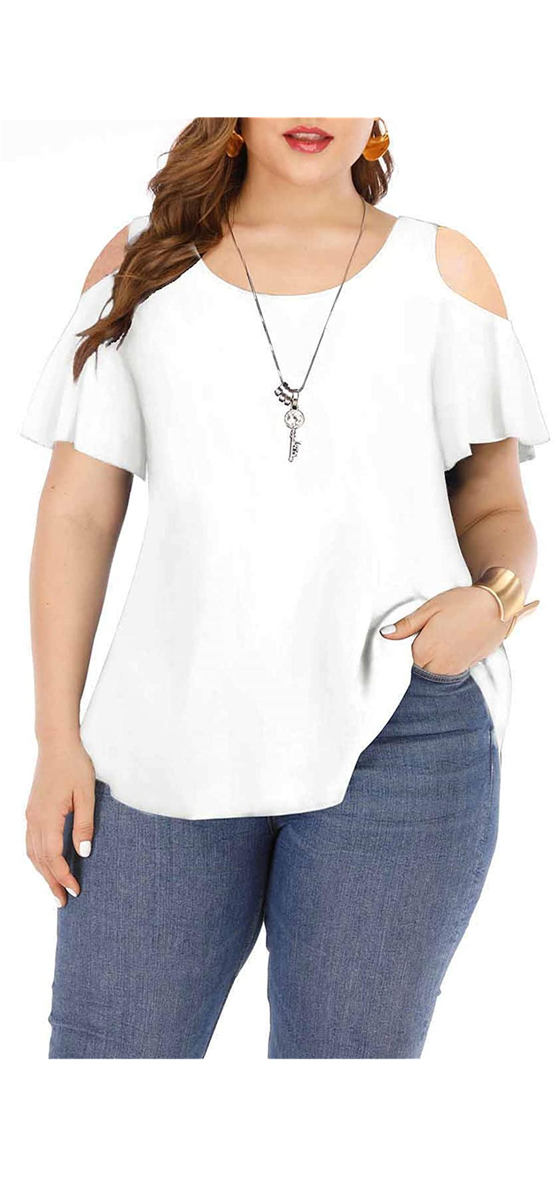 Women's Plus Size Tops High Low Casual T Shirts Basic V