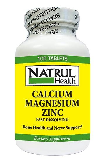 Amazon Com Nat Rul Health Calcium Magnesium Plus Zinc Tablets 100
