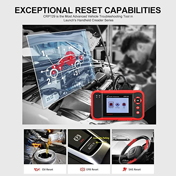 Launch CRP129 lets you perform 3 Reseting Functions: Oil Reset, EPB Reset, and SAS Reset.