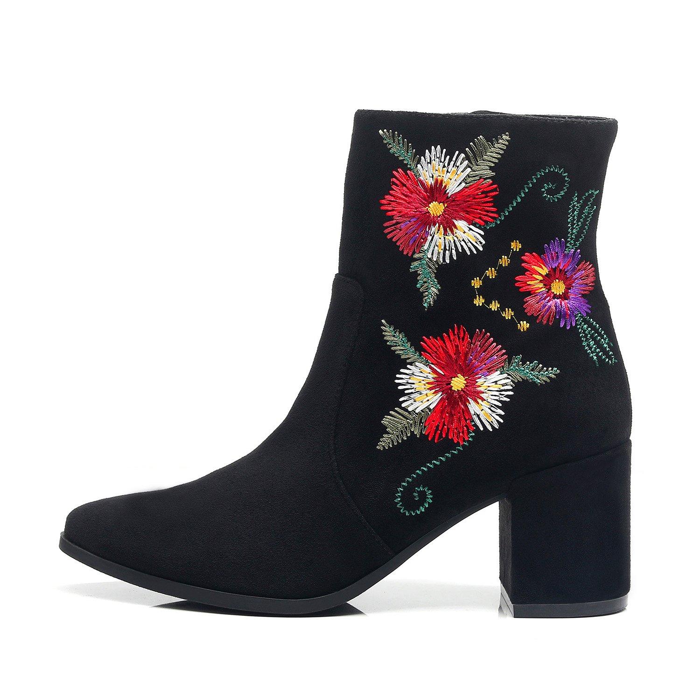 DUNION Women's Slip On Glamour Fashion Chunky Heel Ankle Boot B075PQR3XX 8 M US|Adolpha Black