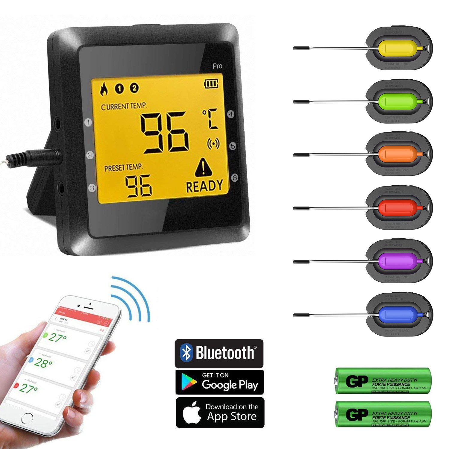 Meat Thermometer- BUKELERN Smart Food Thermometer Wireless Remote Digital Cooking BBQ Thermometer App Control for Grill Oven Kitchen Cooking with 6 Stainless Steel Probes Batteries Included