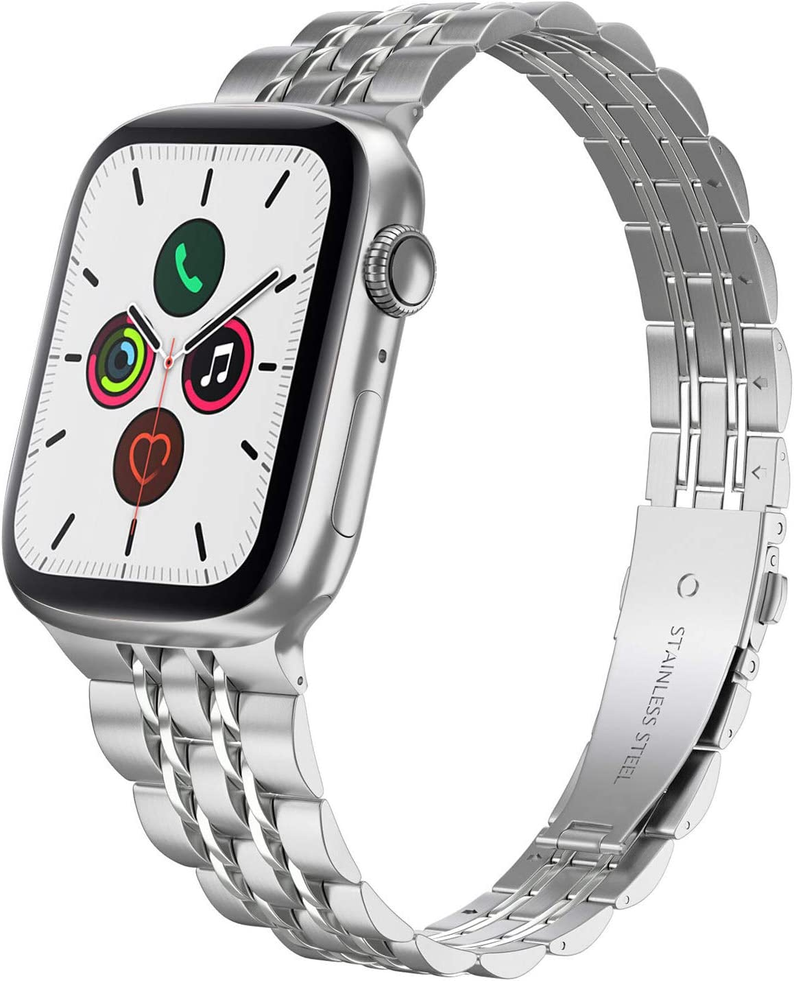 Compatible with Apple Watch Band 40mm Series 6 5 4 38mm Series 3 2 1, Yisdo Iwatch Bracelet Link Band Iphone Watch Band Ultra Thin Stainless Steel Metal Women (38mm/40mm, Silver)