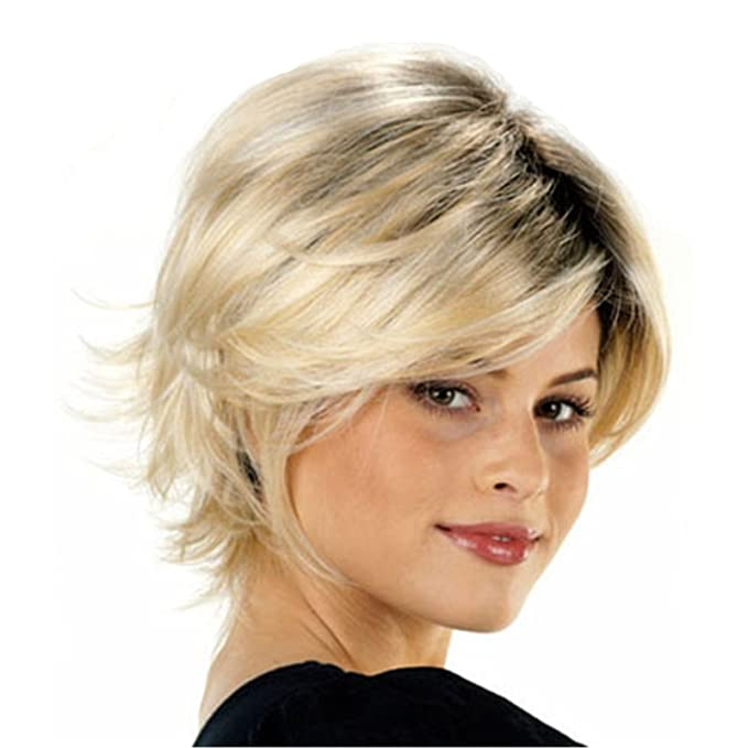 Natural de piel de oveja sintética recta rubia peluca corta para las mujeres 0013