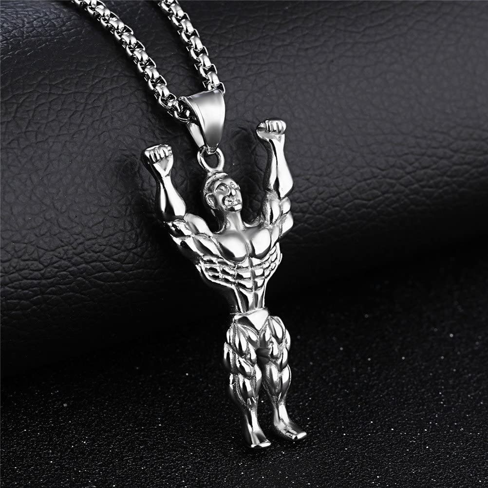 PAMTIER Mens Stainless Steel Muscle Fitness Mr Pendant Necklace