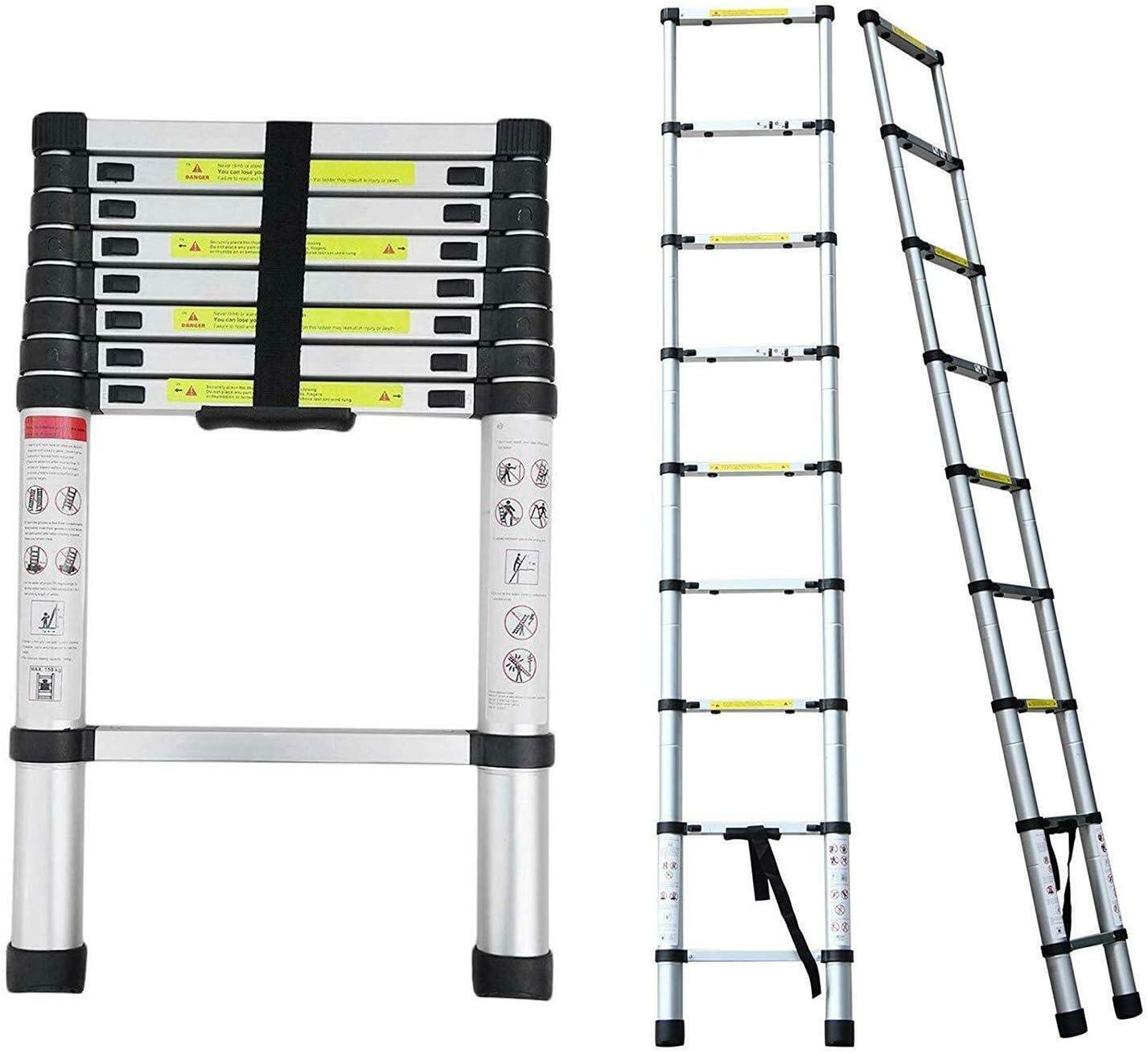 Escalera telescópica de 2,6 m, portátil, extensible, escalera de alminium, 9 peldaños, extensible, con certificación EN131, carga máxima de 330 libras: Amazon.es: Bricolaje y herramientas