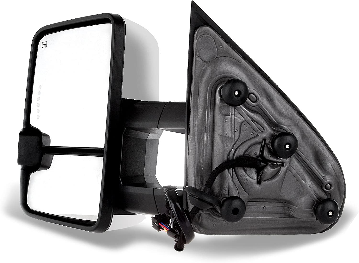 FINDAUTO Rear View Tow Mirrors Compatible with 2014-2018 Chevy GMC 1500 2015-2019 Chevy GMC 2500 HD 3500 HD Towing Mirrors Left Right Side Power Heated with Turn Signal Light Chrome