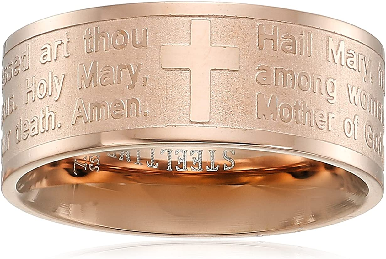 Ladies 18k Gold Plated Stainless Steel Our Father Prayer Ring Circle