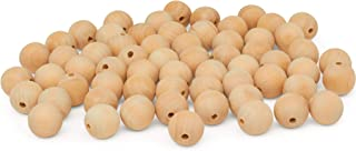 "product image for Wooden Beads (25mm) 1"" Inch x 3/16"" Inch Hole Pack of 1000 Unfinished Wooden Bead Supplies Easily Threads, Smooth Natural Finish Paint and Stain by Woodpeckers"