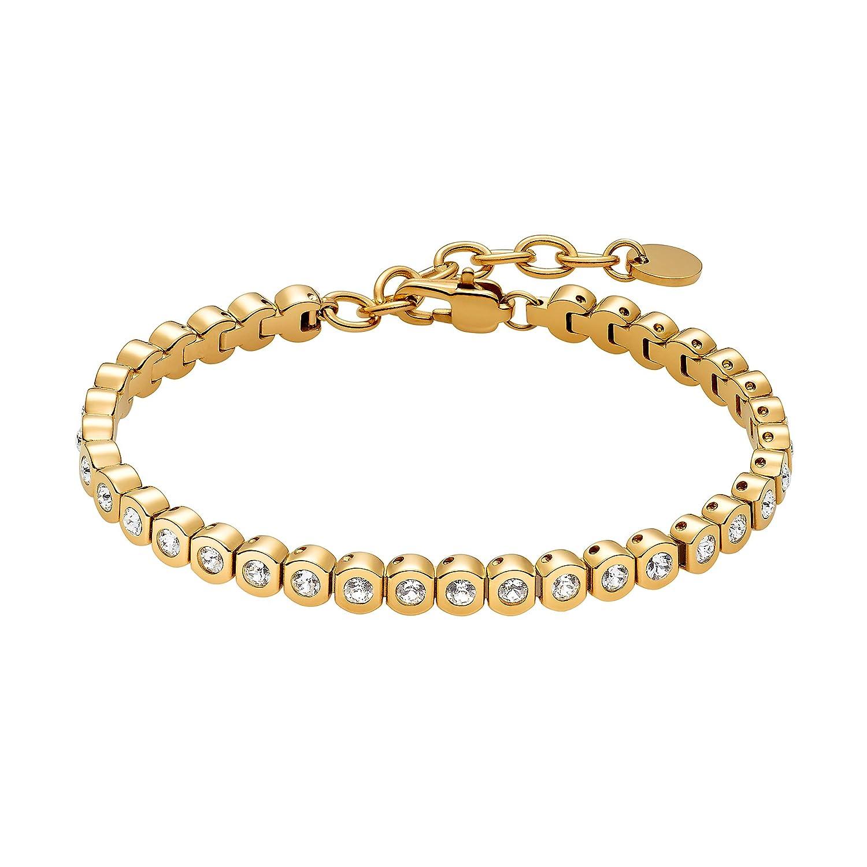 Heideman Armband Damen Amilla II aus Edelstahl Silber, Gold oder Rosegold farbend matt Tennisarmband mit Swarovski Steinen Weiss mit Verlängerung Armkette Schmuck