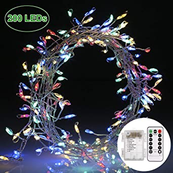 Lichterkette 200 Leds, GREEMPIRE 3M Bunt Kupferdraht Silber Lichterkette  IPX7 Mit Fernbedienung Akku Powered Innen