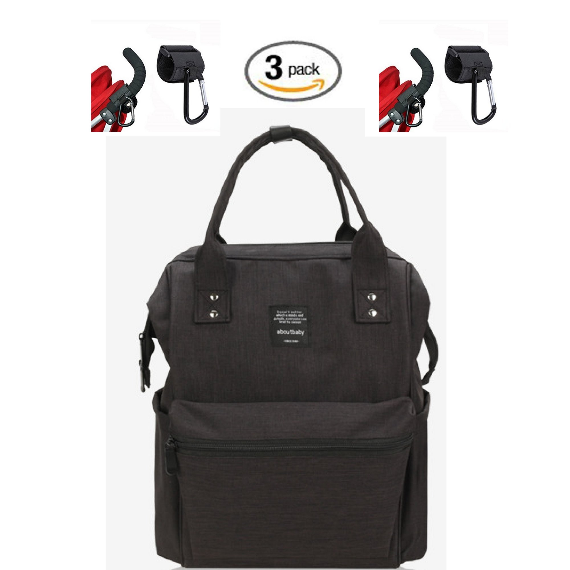 Waterproof Backpack with 2 Stroller Hooks - Durable, Stylish, Large Capacity - Diaper Bag, Maternity Travel Backpack, Multi-Function for Baby Care, Nappy Bag - Insulated Bottle Bag, 3 (Black)