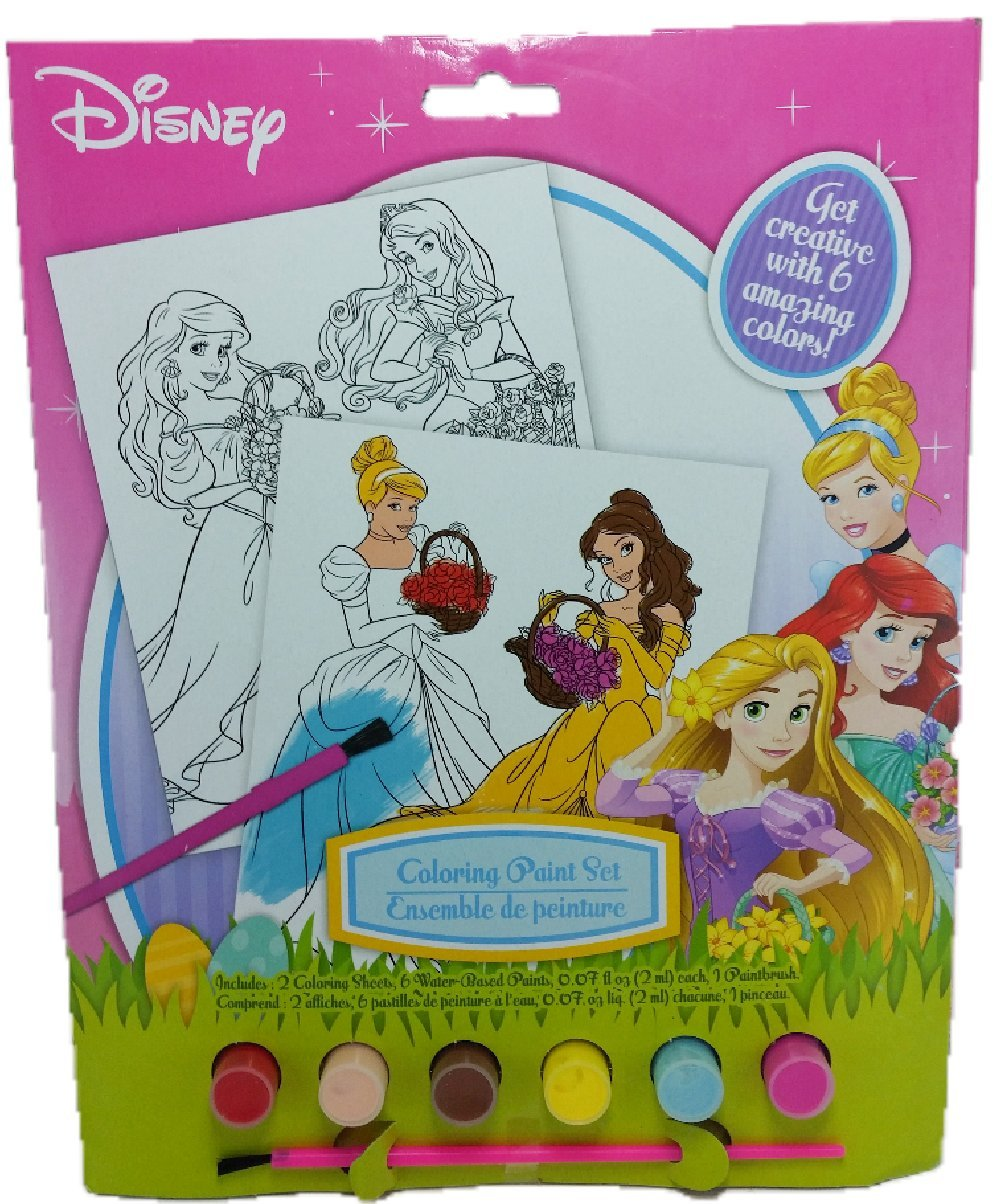 Disney princess coloring kit - Disney Princess Coloring Paint Set Easter Gift Set For Kids Includes 2 Coloring Sheets 6 Water Based Paints And 1 Paint Brush Washable Ready To Use