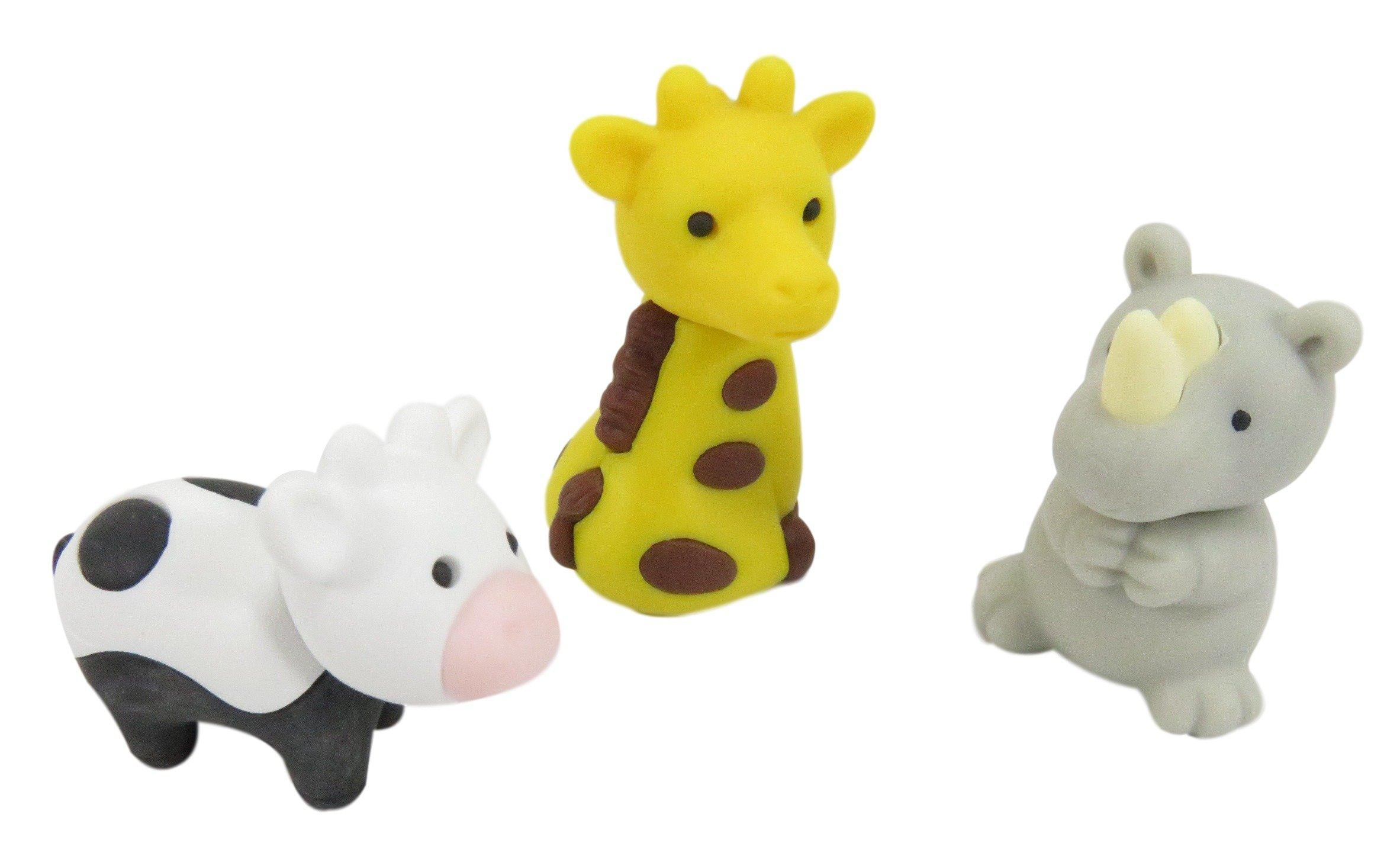 Take Apart Complete Your Collection Mini Erasers Gorilla Giraffe Polar Bear Rhino Kangaroo Pig Cow (Pack of 12) by Daiso Japan (Image #3)