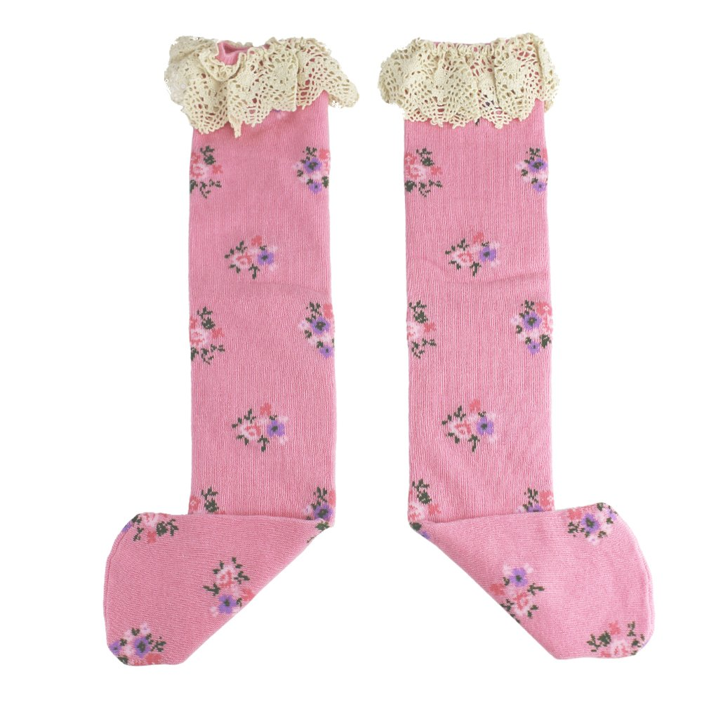Sweet Kids Child Girl's Cotton Princess Floral Flowers Lace Infant Toddler Lace Ruffles Long Tube Socks Bow Knee High Socks Sealive sealiveB670005005