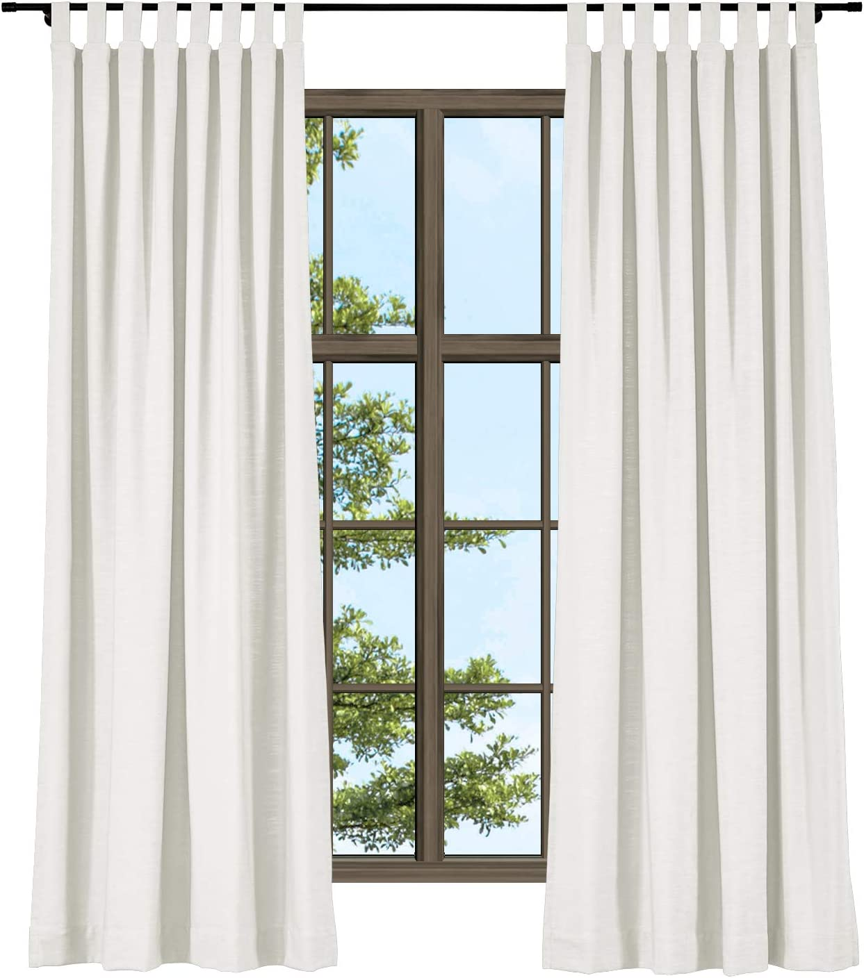 ChadMade Linen Off White Tab Top Room Darkening Curtain for Small Window, 50 Inch Wide by 63 Inch Long Linen Blend Texture Curtain Patio Door 1 Panel
