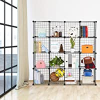 Generic * DIY Wire Shelf Bookcase IY Wir Wire Display 16 Cube D 16 Cube DIY lf Bookcase Organizer Cabinet Clothing et Clothing Storage Rack et Clothing