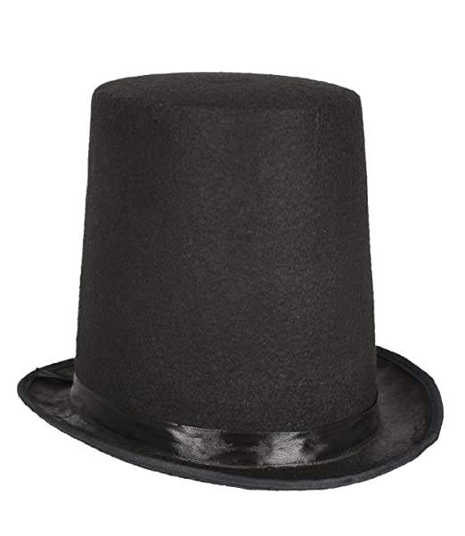 c27a79b2e Honest Abe Lincoln Men's 8 Inch Black Felt Stovepipe Top Hat