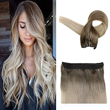 Easyouth Fish Wire Extension 16inch Color 8 Ash Brown Fading To 60 Lightest Blonde Highlights With 18
