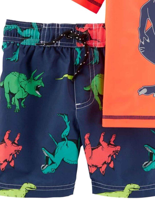 Carters Infant /& Toddler Boys Orange Dinosaur Rash Guard Shirt /& Swim Trunks