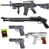 NEW Lot of 5 Airsoft Guns M16 Rifle Shotgun Machine Pistols & 1000 6mm BBs