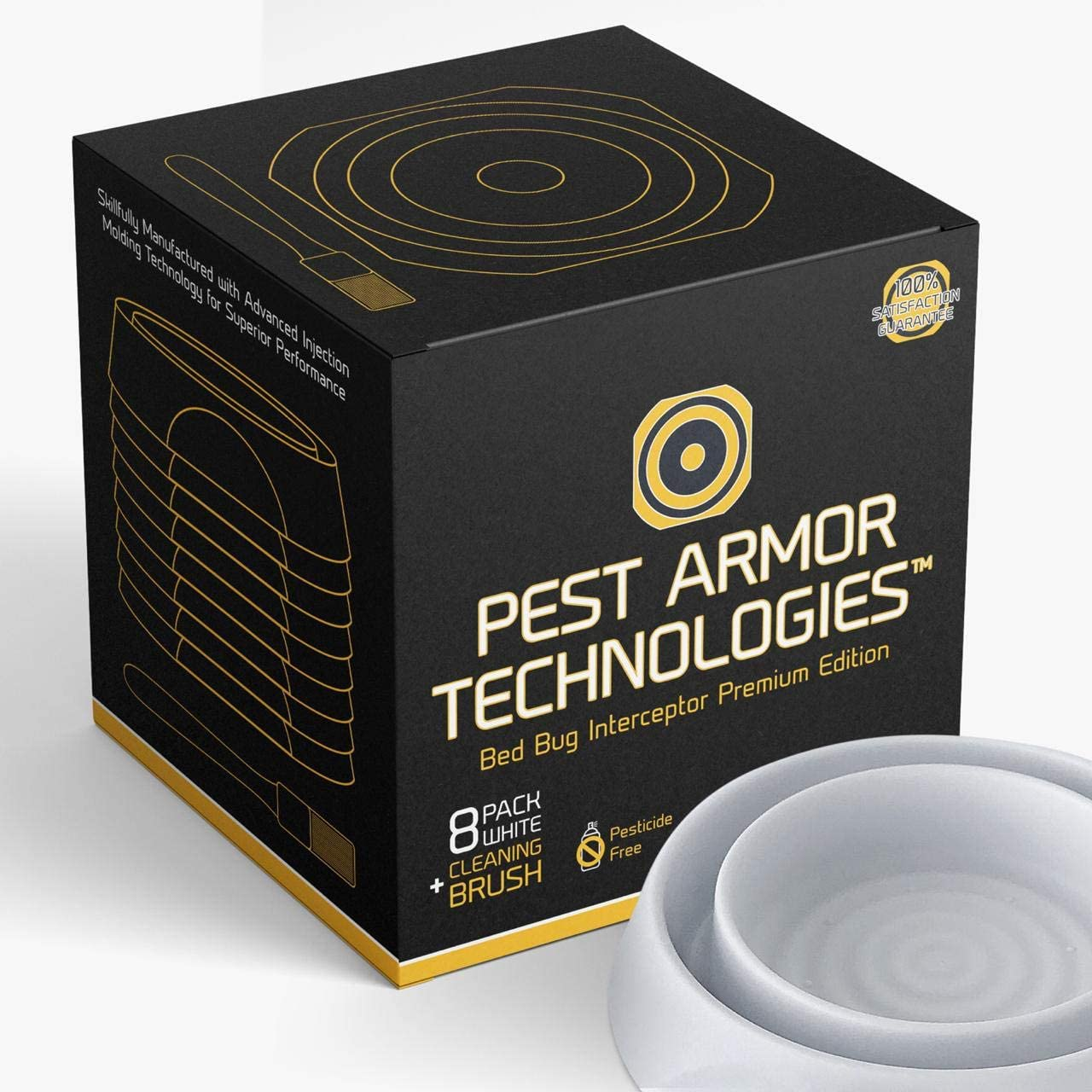 Pest Armor Technologies Bed Bug Interceptors - 8 Pack White | Premium Edition | Bed Bug Trap | Eco Friendly Bed Bug Traps and Detectors for Bed Legs | Indoor