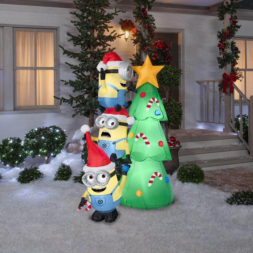 45.52 in. W x 31.10 in. D x 72.05 in. H Inflatable-Minions Decorating Tree Scene