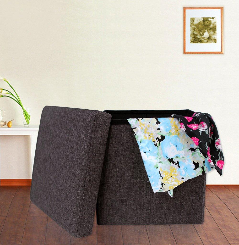 SONGMICS 38 x 38 x 38 cm Pouf Cubo Poggiapiedi Contenitore Sgabello Pieghevo in Lino Grigio LSF27H