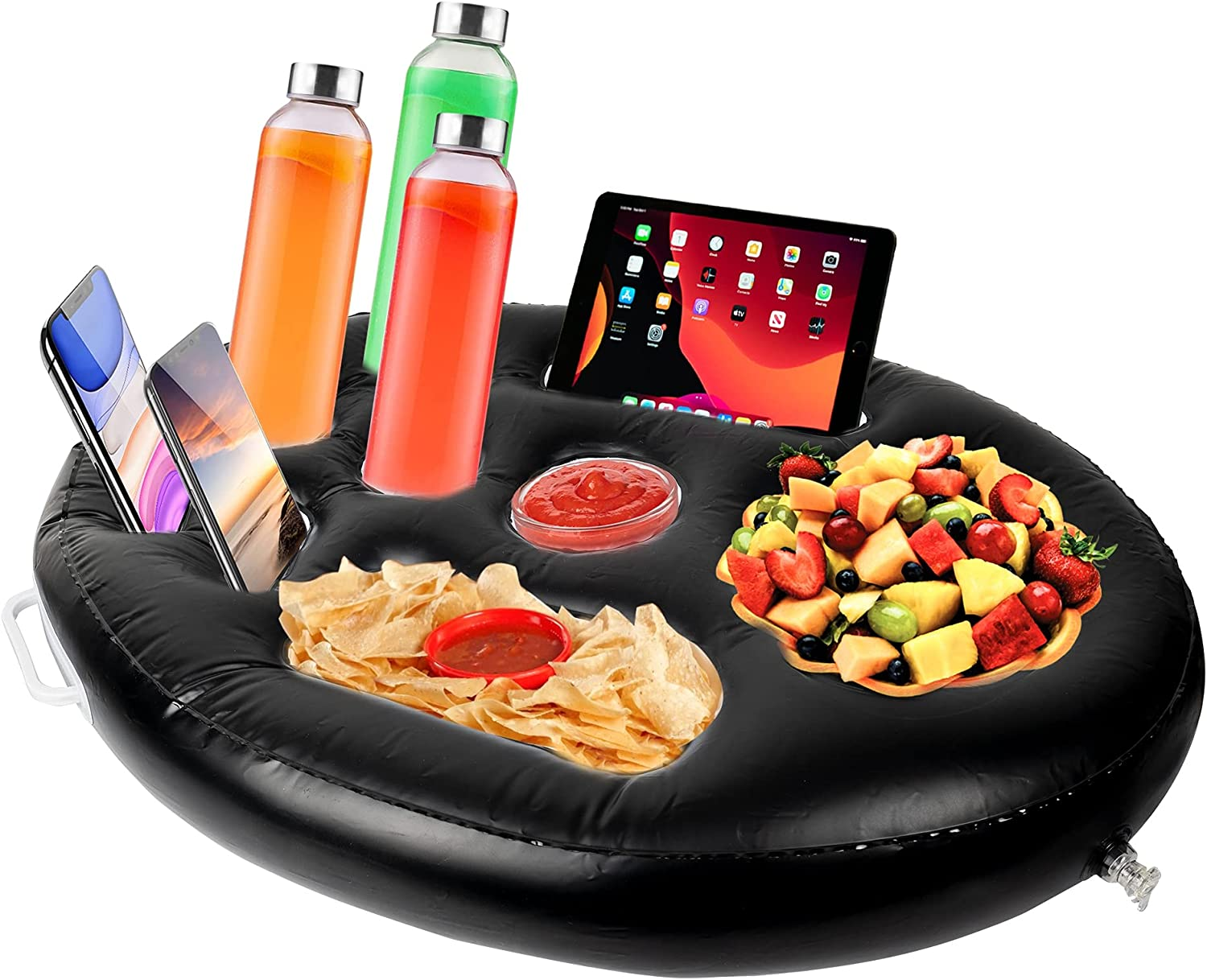 FUNPENY Inflatable Floating Drink Serving Bar, 9 Holes Drink Holder Accessories for Outdoor Pool Game Beach Hot Tub Spa (Black)