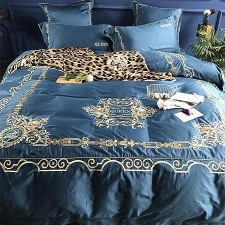 Juego de sábanas de 4 piezas de algodón de fibras largas