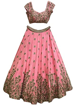pink banglori embroidered semi stitched lehenga choli with blouse Lehenga Cholis at amazon