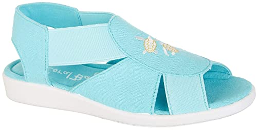 235b39c43 Coral Bay Womens Maggie Embroidered Sea Turtle Sandals 6 Turquoise Blue