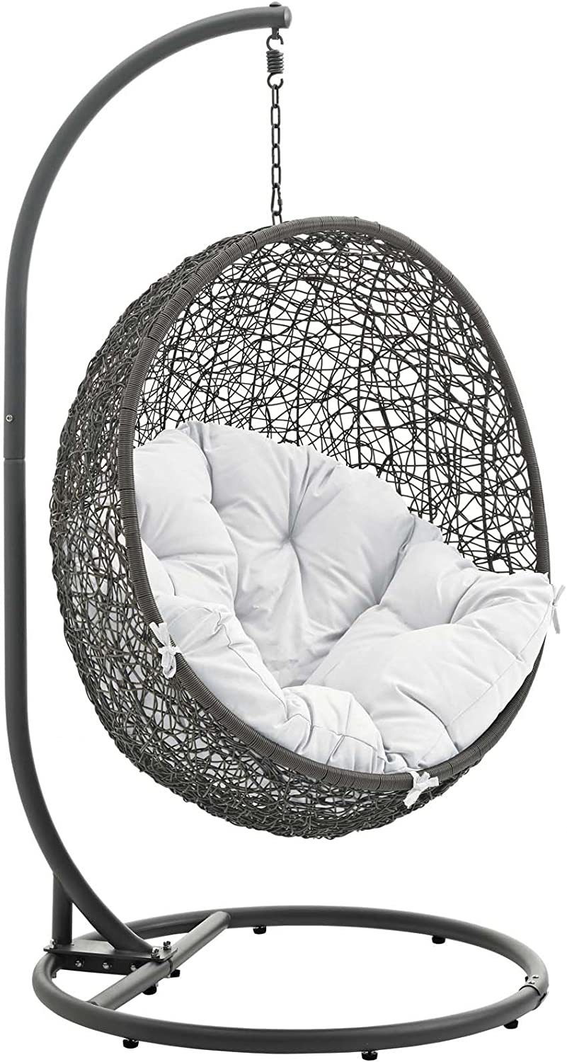Mid Century Rattan Chair, Amazon Com Modway Hide Wicker Rattan Outdoor Patio Porch Lounge Egg Swing Chair Set With Stand In Gray White Garden Outdoor