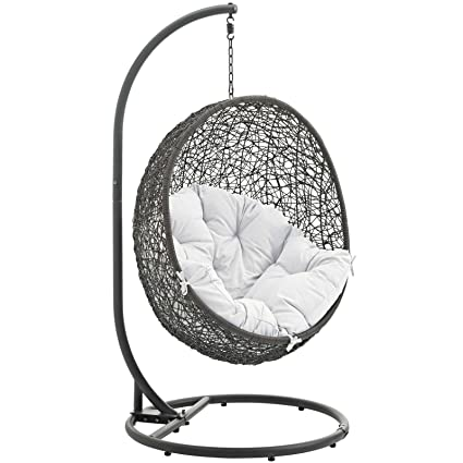 Amazon.com : Modway Hide Outdoor Patio Swing Chair with Stand, Gray ...