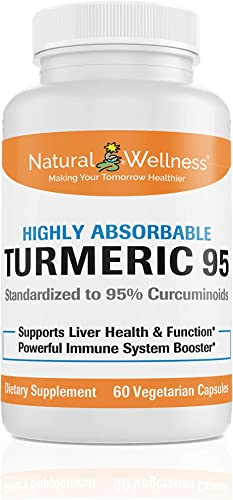 Turmeric 95, by Natural Wellness, Offers a Highly absorbable Turmeric and BioPerine Combination - 60 vcaps