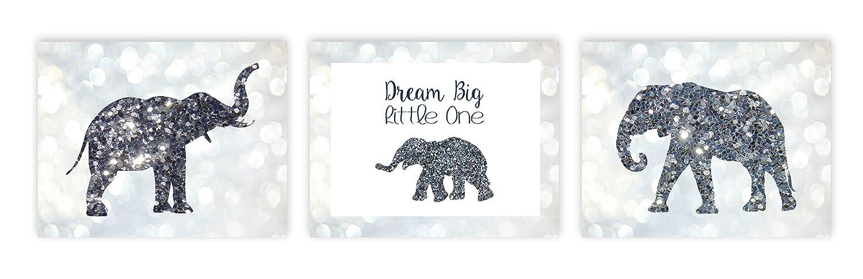 Dream Big Little One, Glitter Baby Girl Nursery Decor Nursery Print Baby Elephant First Pink Gray Baby Girl Room Art, Three Cute Elephant Family With Glitter Wall Decor Baby Nursery Decor Kids Room