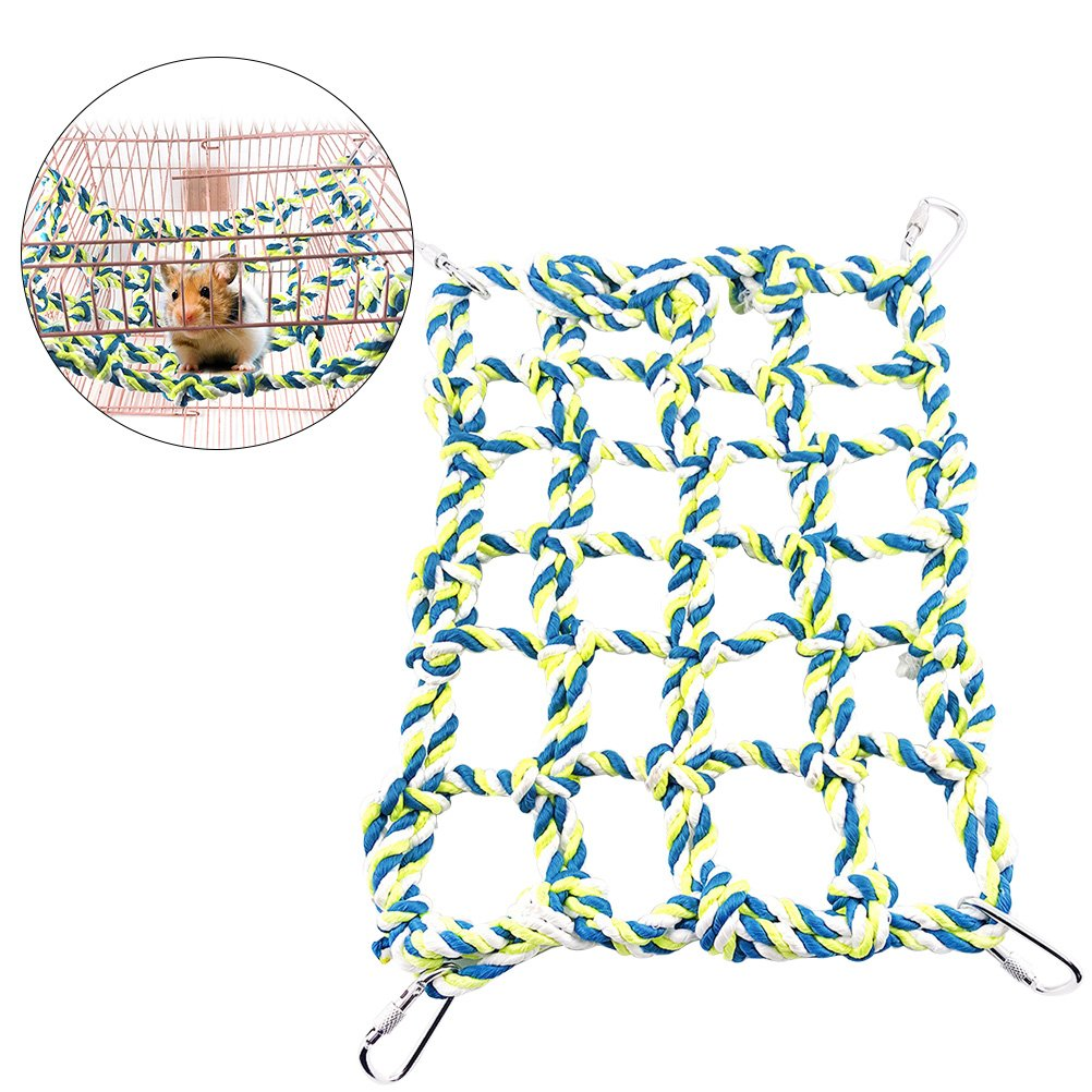 UEETEK Small Animal Activity Toy Rat and Ferret Climbing Rope Net Pet Bed for Hamster Parrot