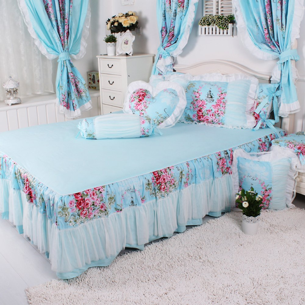 Korean Love Sea Pastoral Style Bedding Cotton Printing Bedding Sets 4pcs White Lace Ruffled Duvet Cover Bedding Set (King, Light Blue
