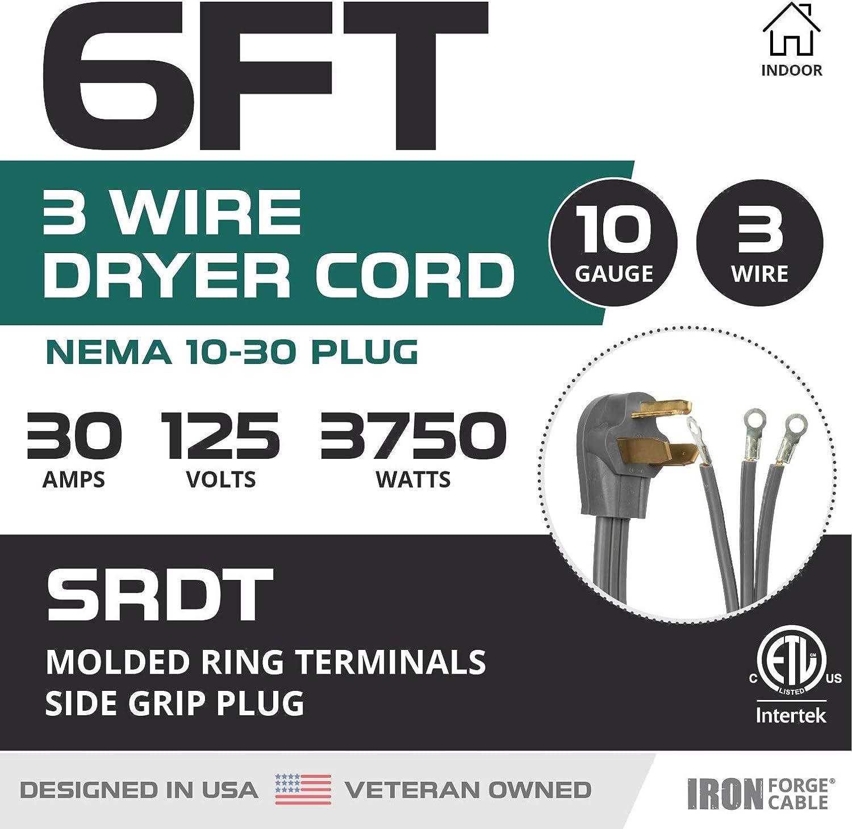 30 Amp NEMA 10-30 Plug 10//3 SRDT 3 Prong Dryer Cord Gray 4 Ft Extension Power Cord