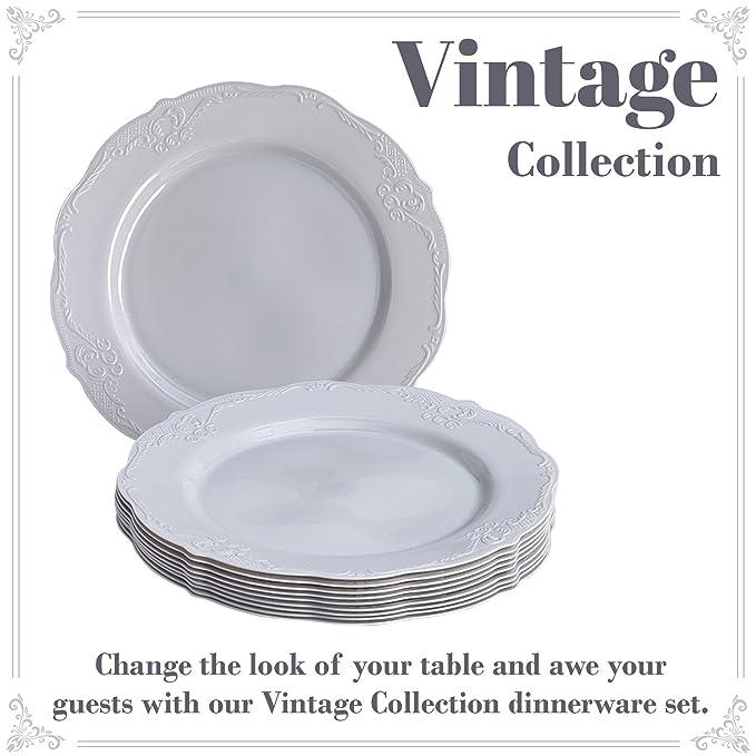VAJILLA PARA FIESTAS DESECHABLE DE 20 PIEZAS | 20 platos para postre | Platos de plástico resistente | Elegante aspecto de porcelana fina | Para bodas y ...