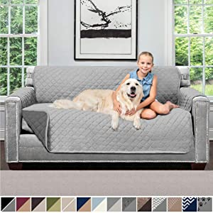 SOFA SHIELD Original Patent Pending Reversible Small Sofa Slipcover, 2 Inch Strap Hook, Seat Width Up to 62 Inch Washable Furniture Protector, Couch Slip Cover for Pet, Small Sofa, Light Gray Charcoal