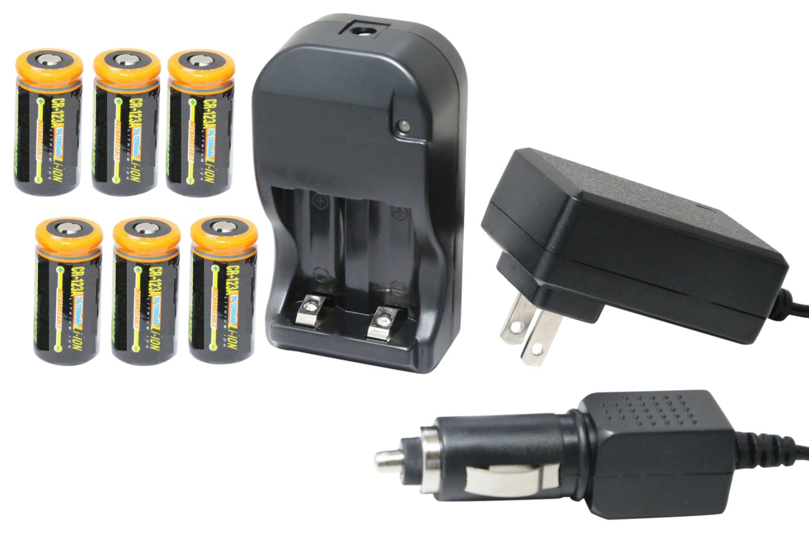 Ultimate Arms Gear UAG-18360 Tactical CR123A 3V Lithium Li-Ion Rechargeable Batteries Battery Charger Kit and 12V Car Lighter Plug Adapter 4 AIM Flashlight, 110/220V, 1200 mAh, 6 Piece